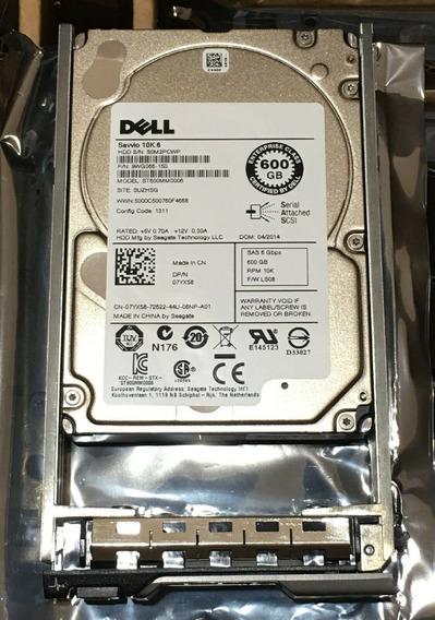 Hdd Sas 600gb 10k 2.5 6gbps Dell - Pn 07yx58 - St600mm0006 - 9wg066-150 Com Gaveta - Garantia 1 Ano - Pronta Entrega