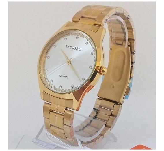 Relógio Longbo Feminino Dourado Original Luxo Vip 12x S/j