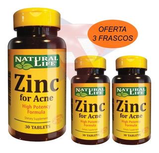 Zinc For Acne X 30 Tabletas Natural Life Oferta 3 Frascos!!!