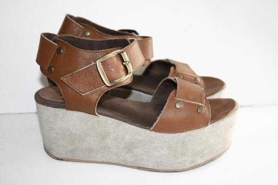 Zapatos Plataforma Febo Casi Nuevos De Cuero. N° 38