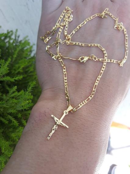 Corrente Masculino Banhado Ouro 18k Cordão Ping Jesus Cristo
