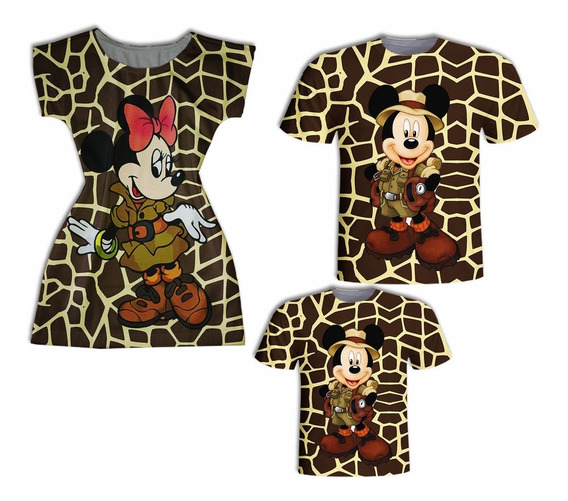 Vestido Mãe E Blusa Pai E Filho - Mickey E Minnie Safari Ii