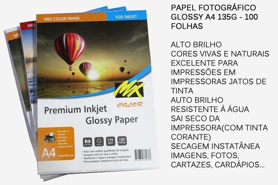 500 Papel Fotográfico Glossy 135g, A4 Brilhante, Nao Adesivo