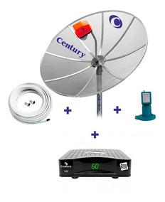 Kit Parabolica Century Antena Receptor Lnbf Cabo Conectores