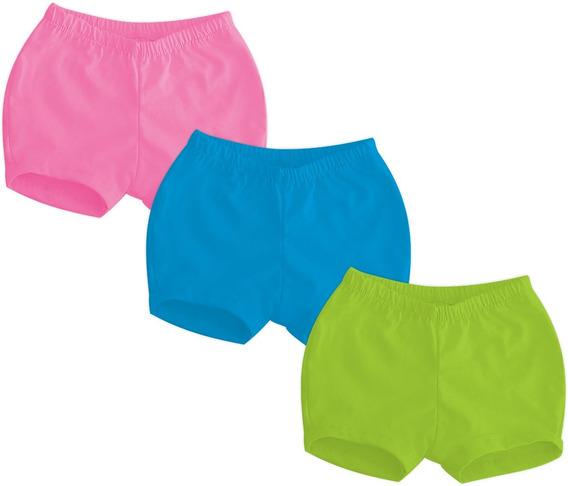 Kit 6 Shorts Tapa Fralda Liso - 100% Algodão - Unissex