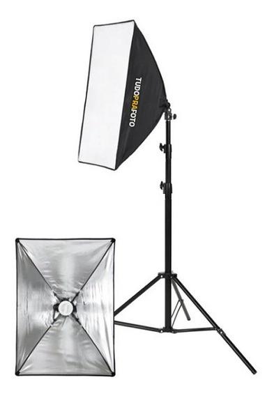 Kit Estúdio Tripé Iluminação 2mt + Softbox 50x70 + Lâmpada 135w 110v