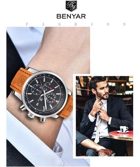 Relógio Masculino Benyar / Pulseira Couro Premium / Quartzo