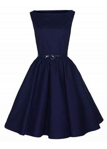 Vestido Pinup Falda Plato Modelo Olivenza Azul Oscuro