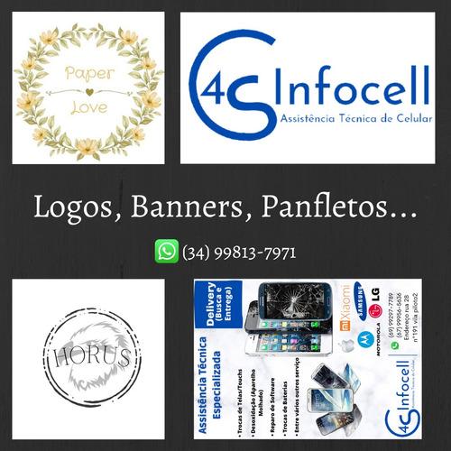 Imagem 1 de 1 de Logos, Banners, Panfletos, Cartões De Visitas