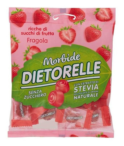 Imagem 1 de 3 de Bala De Goma De Morango Com Stevia Dietorelle 70g