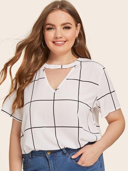 5618b3a00b93 Blusa De Cuadros Para Dama Talla Extra Mirel - Blusas de Mujer en ...