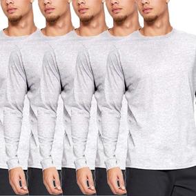 Kit 5 Camiseta Manga Longa Slim Fit Camisa Blusa De Frio