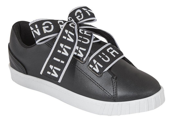 Tenis Sneakers Mujer Casual Urbano Maxi Cordones Negro Cklas