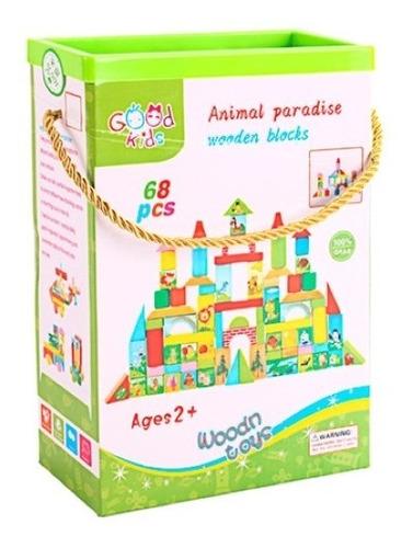 Caja Bloques Madera Animal 68 Pzas. Didactico