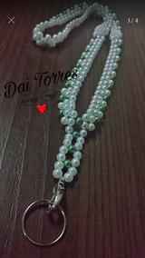 Cordão Para Crachá Em Pérolas Branco/verde