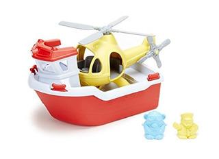 Green Toys Bote De Rescate Con Helicoptero