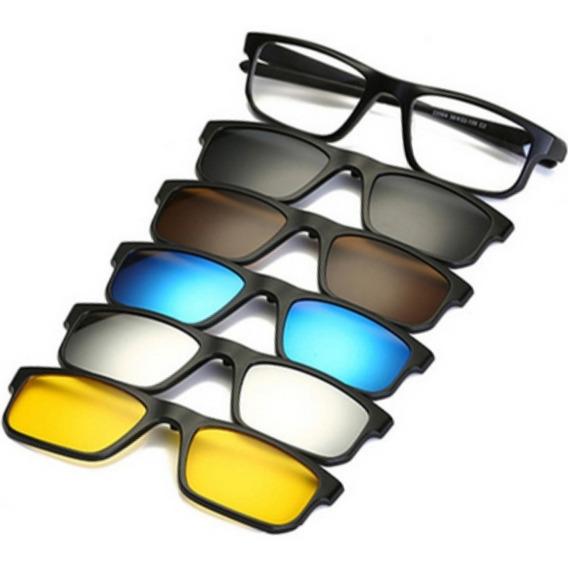 Óculos De Sol Com Armação De Grau Clip On 6 Em 1 Polarizado