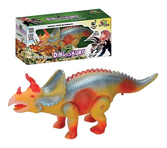 Dinossauro Tricerátops Com Som, Luz E Movimento Brinquedo
