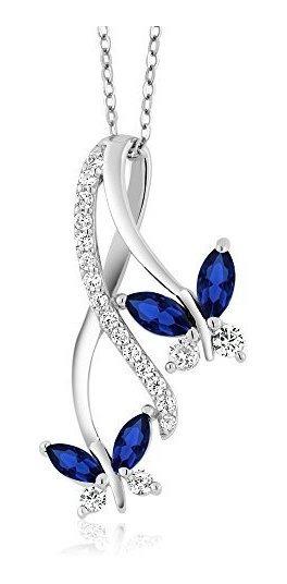Collar De Plata De Ley 925 Creado Con Zafiro Azul Infinito C