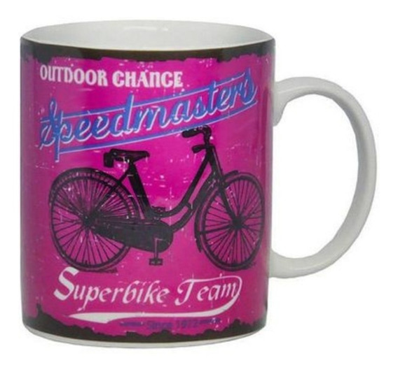 Caneca Bike To Work Ride Rosa 320ml De Porcelana Dm Brasil