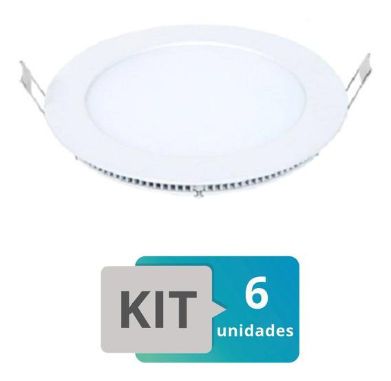 Kit 6 Painel Plafon Led Embutir Slim Redondo 18w Branco Que