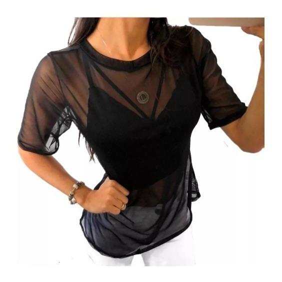 Blusa Camisa Tule Transparente Moda Instagram T-shirt Top