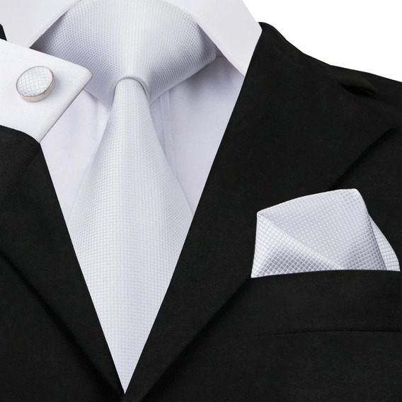 B341 Seda | Corbata Pañuelo Mancuernillas - Blanca Lisa