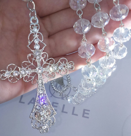 Terço Noiva Folheado A Prata, Belíssimo, Cristal 12mm, Lindo
