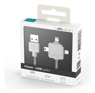 Power Cable Usb 3 En 1 Mini Usb, Micro Usb, Apple 7verdes
