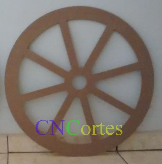 Roda Grande Carroça Provençal Rústica Mdf Decoração