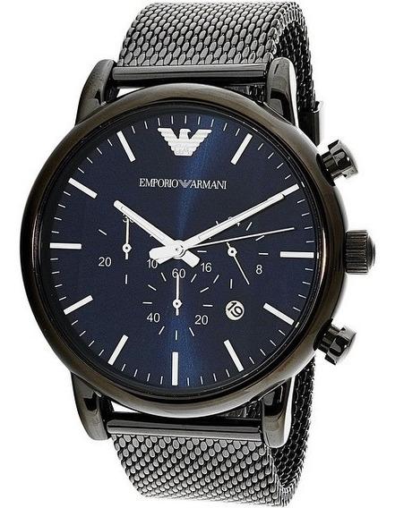 Relógio Empório Armani Ar1979 Azul Blue Dial Malha Original