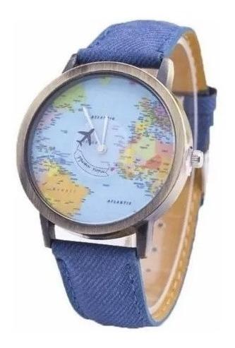Relógio De Pulso Avião Mapa Mundi Jeans