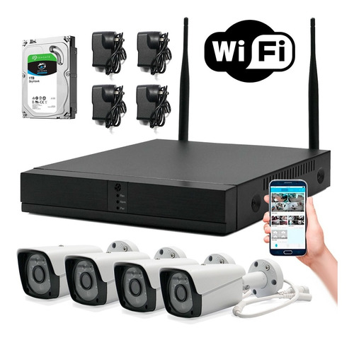 Kit 4 Cámaras Wifi Full Hd Inalámbrico Ext 1080p + Hd 1 Tb