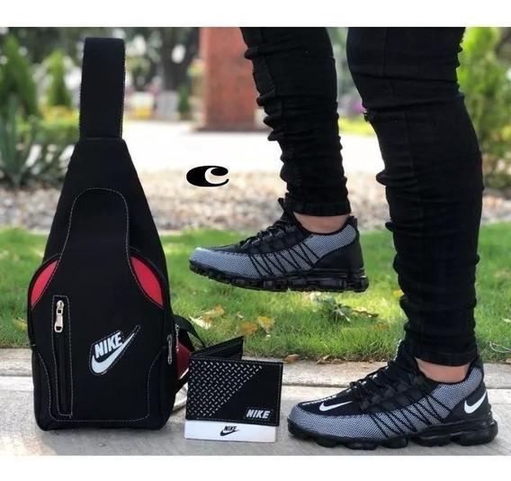Zapatillas Hombre Nike Vapor Max+bolso+billetera Deportiva