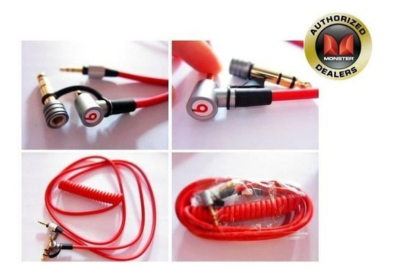 Cabo Dr Dre Monster Pro Red Espiral P2 + P2 + Plug P10
