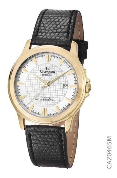 Relógio Champion Dourado Masculino Ch22288m Pulseira Couro