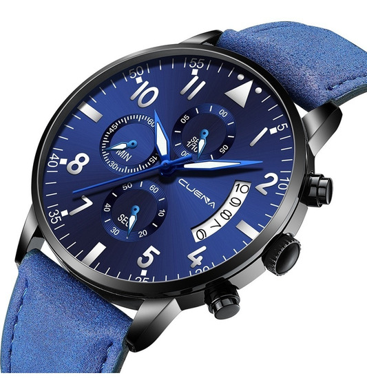 Relógio Cuena De Pulso Ultra Fino Analógico Masculino Azul