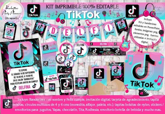 Kit Imprimible Candy Bar Tik Tok Tiktok 2 100% Editable