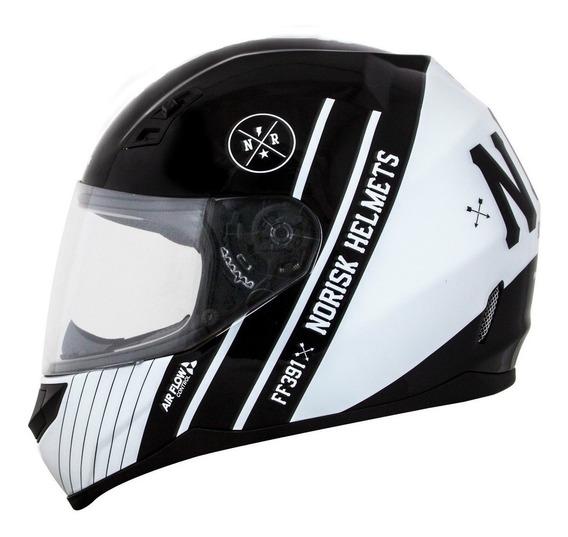 Capacete Moto Norisk Ff391 Knight Preto Branco