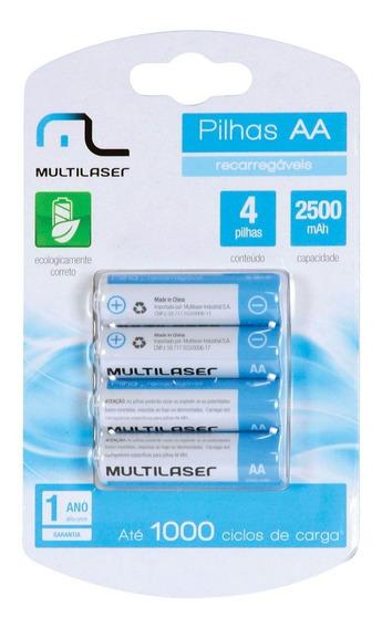 Pilha Recarregavel Aa 2500mah C/4 Cb052 Multilaser