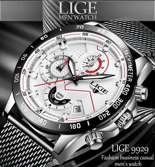Relógio Masculino Lige 9929 Original Quartz Cronógrafo Preto