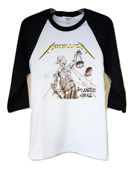 Poleras 3/4 Metallica And Justice Thrash Metal Abominatron