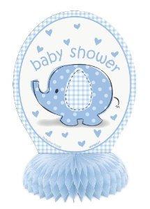 6 Honeycomb Blue Elephant Baby Shower Decoración 4ct