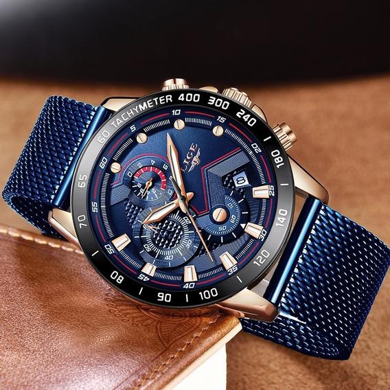 Relógio Masculino Pulseira Em Aço Inox Lige 9929 Fecho Mes