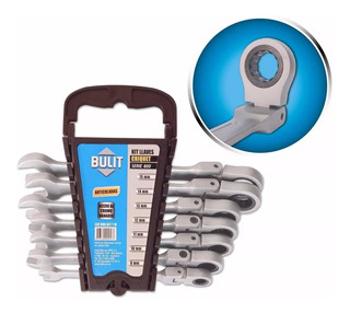 Juego Kit X 7 Llaves Combinadas Con Crique Articulada Bulit