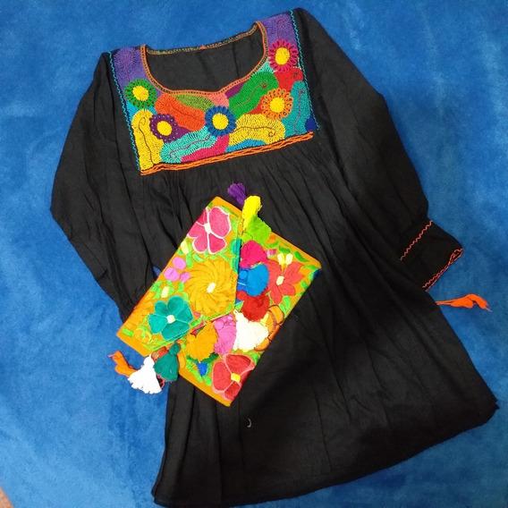 Artesanal Blusa Talla M Color Negro ( Nudito)