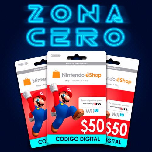 Tarjeta Nintendo Eshop  Dinero De $50