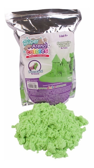 Super Arena Cinética 1 Kg Moldeable Color Verde