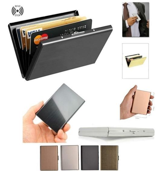Porta Tarjetas Metalico De Bolsillo Slim Wallet Cartera Homb