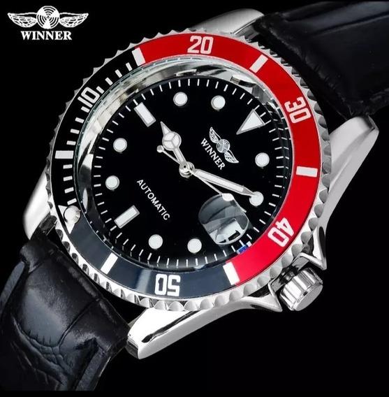Relógio Masculino Winner Original Luxo Oferta Couro C.97